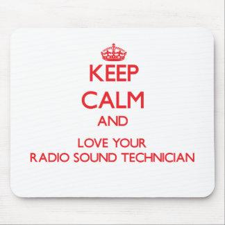 Guarde la calma y ame a su técnico sano de radio tapete de raton