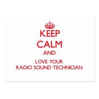 Guarde la calma y ame a su técnico sano de radio tarjetas de visita grandes
