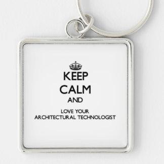 Guarde la calma y ame a su tecnólogo llavero cuadrado plateado