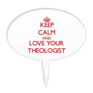 Guarde la calma y ame a su teólogo decoración de tarta