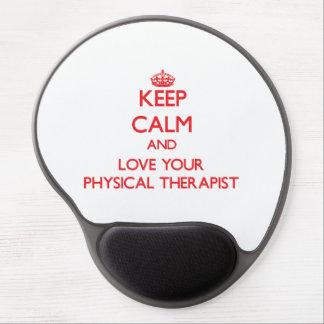 Guarde la calma y ame a su terapeuta físico alfombrilla con gel