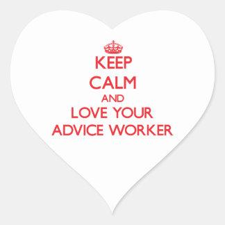 Guarde la calma y ame a su trabajador del consejo pegatinas de corazon