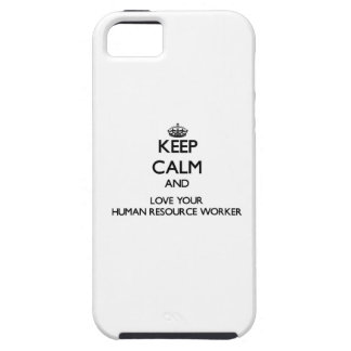 Guarde la calma y ame a su trabajador del recurso iPhone 5 Case-Mate protector
