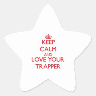 Guarde la calma y ame a su trampero calcomanías forma de estrellaes