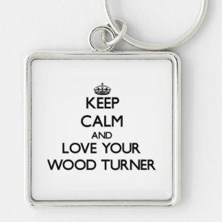 Guarde la calma y ame a su Turner de madera Llavero Personalizado