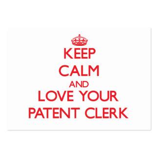 Guarde la calma y ame a su vendedor de la patente tarjetas personales