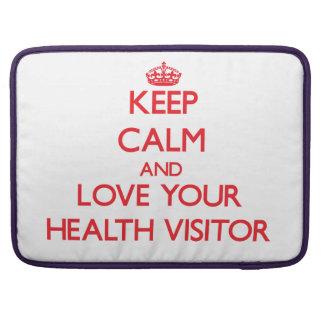 Guarde la calma y ame a su visitante de la salud fundas para macbook pro