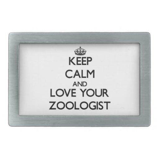 Guarde la calma y ame a su zoologista hebillas cinturon rectangulares