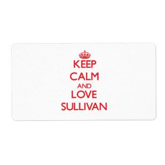 Guarde la calma y ame a Sullivan Etiquetas De Envío