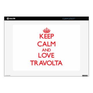 Guarde la calma y ame a Travolta Calcomanía Para Portátil