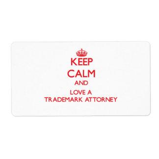 Guarde la calma y ame a un abogado de la marca reg etiqueta de envío