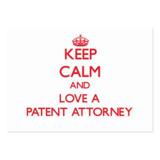 Guarde la calma y ame a un abogado de patentes tarjetas de visita