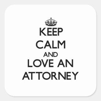Guarde la calma y ame a un abogado calcomanías cuadradas personalizadas