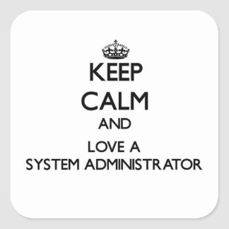 Guarde la calma y ame a un administrador de sistem calcomanías cuadradass personalizadas