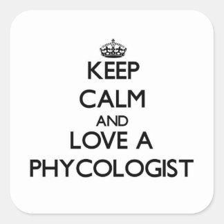 Guarde la calma y ame a un algólogo calcomanias cuadradas