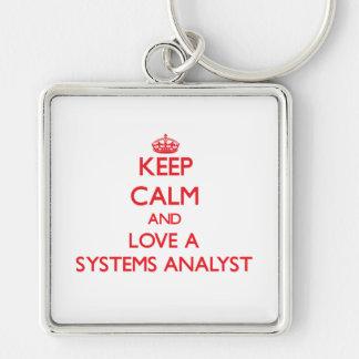 Guarde la calma y ame a un analista de sistemas llavero