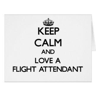 Guarde la calma y ame a un asistente de vuelo tarjeton