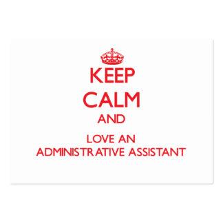 Guarde la calma y ame a un ayudante administrativo plantillas de tarjetas de visita