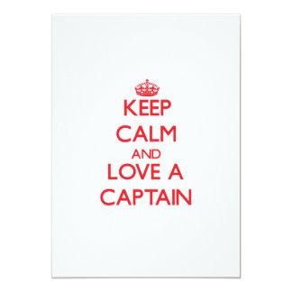 """Guarde la calma y ame a un capitán invitación 5"""" x 7"""""""