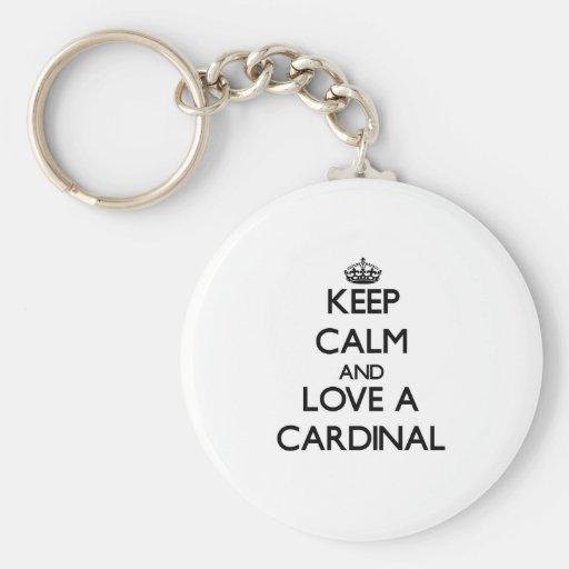 Guarde la calma y ame a un cardenal llavero redondo tipo pin