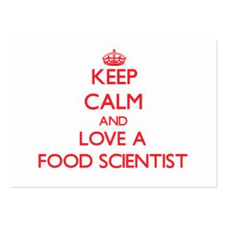 Guarde la calma y ame a un científico de la comida tarjeta personal