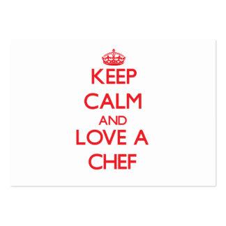 Guarde la calma y ame a un cocinero tarjetas personales