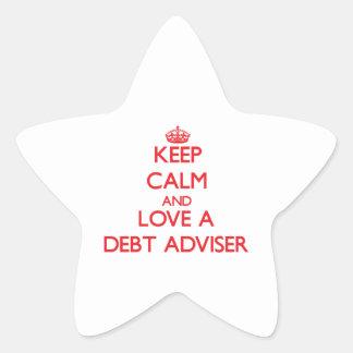 Guarde la calma y ame a un consejero de la deuda pegatinas forma de estrellaes personalizadas