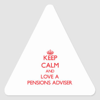 Guarde la calma y ame a un consejero de las calcomanía triangulo