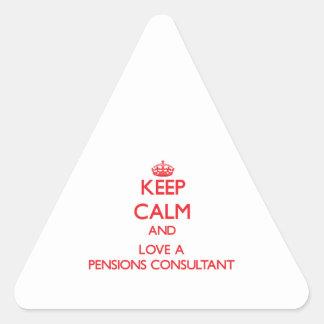 Guarde la calma y ame a un consultor de las calcomanías de triangulos