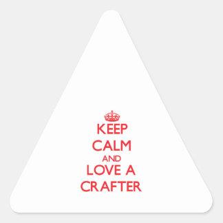 Guarde la calma y ame a un Crafter Pegatinas Trianguladas