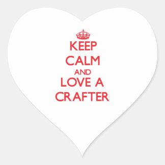 Guarde la calma y ame a un Crafter Calcomanías De Corazones