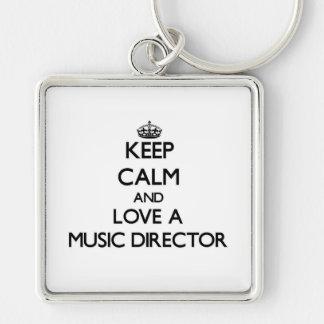 Guarde la calma y ame a un director musical llavero cuadrado plateado