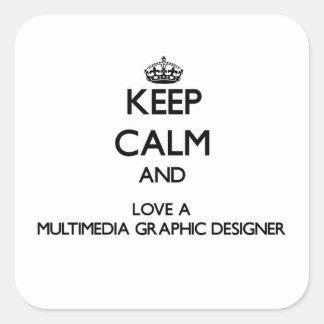 Guarde la calma y ame a un diseñador gráfico de pegatina cuadrada