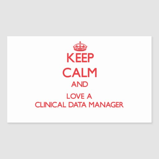 Guarde la calma y ame a un encargado clínico de pegatina rectangular