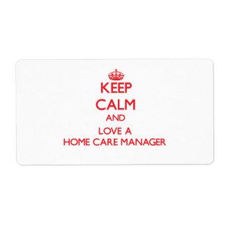 Guarde la calma y ame a un encargado de cuidados e etiquetas de envío