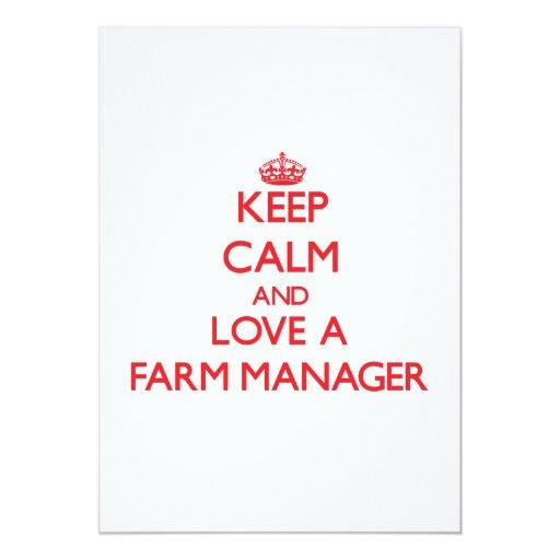 Guarde la calma y ame a un encargado de la granja invitación 12,7 x 17,8 cm