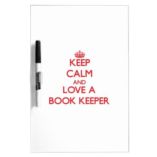 Guarde la calma y ame a un encargado de libro pizarras blancas de calidad