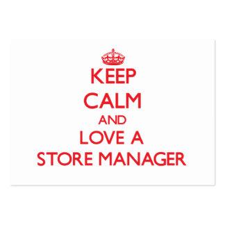 Guarde la calma y ame a un encargado de tienda tarjetas personales
