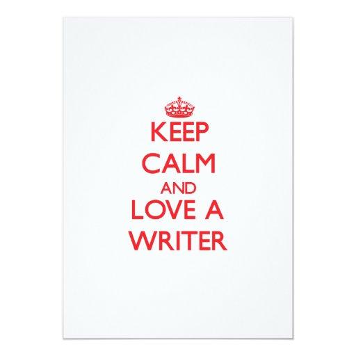 """Guarde la calma y ame a un escritor invitación 5"""" x 7"""""""