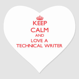 Guarde la calma y ame a un escritor técnico calcomania corazon