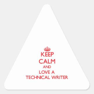 Guarde la calma y ame a un escritor técnico colcomanias de trianguladas
