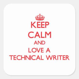 Guarde la calma y ame a un escritor técnico pegatinas cuadradases