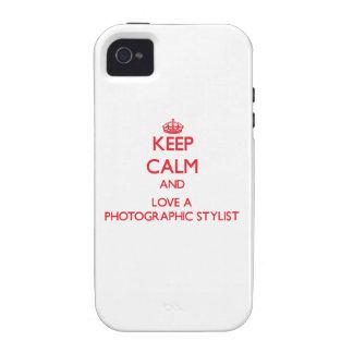 Guarde la calma y ame a un estilista fotográfico Case-Mate iPhone 4 carcasas