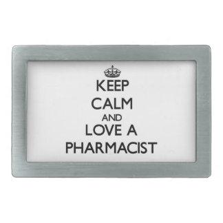Guarde la calma y ame a un farmacéutico hebillas de cinturon rectangulares