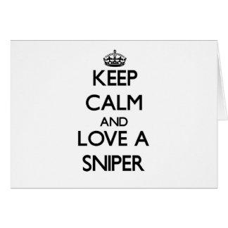 Guarde la calma y ame a un francotirador tarjeta pequeña