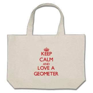 Guarde la calma y ame a un geómetra bolsa de mano