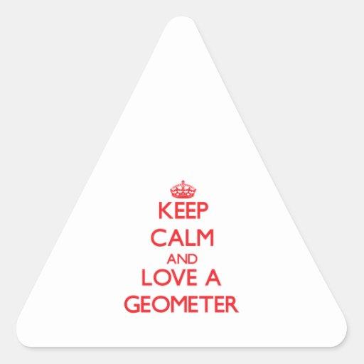 Guarde la calma y ame a un geómetra colcomanias trianguladas personalizadas