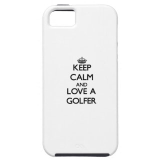 Guarde la calma y ame a un golfista iPhone 5 Case-Mate fundas