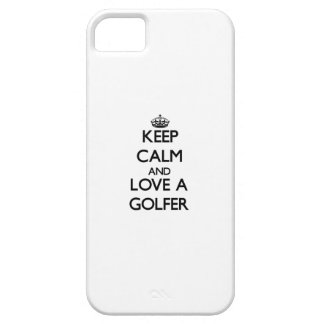 Guarde la calma y ame a un golfista iPhone 5 fundas