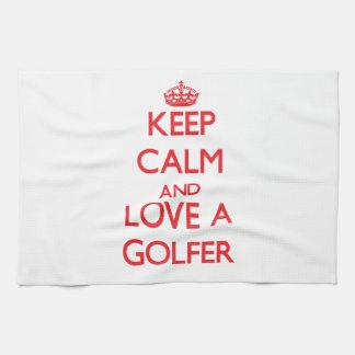 Guarde la calma y ame a un golfista toallas de mano